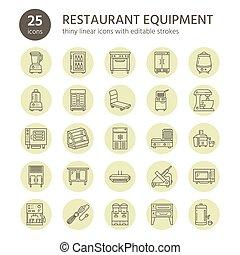 Restaurant professional equipment line icons. Kitchen tools,...