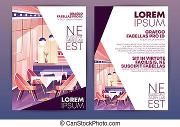 Restaurant promo poster carton vector template