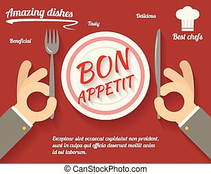 Restaurant Promotion concept Symbol Hands Cutlery Plate Food Icon on Stylish Background Advertising Card Flat Design Vector Illustration