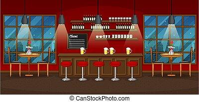 restaurant, pub, fond, scène