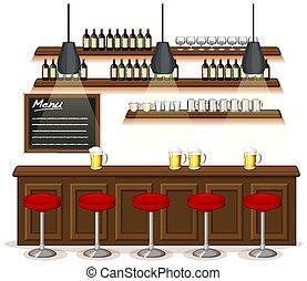 restaurant, pub, scène, fond