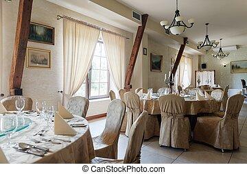 Restaurant ready for wedding reception