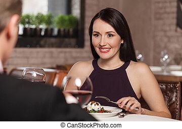 restaurant., restaurante, pareja, almuerzo, maduro, noche,...