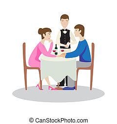 restaurant., romantico, famiglia, valentines, cena, cena.