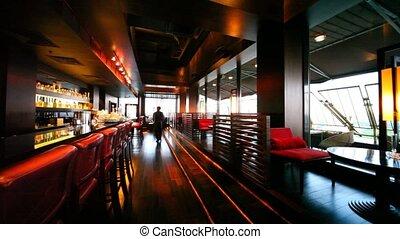 restaurant, salon, lampes, tonalités, red-brown, décoré