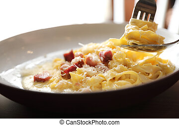 restaurant, sauce, lard, bois, fond, carbonara, spaghetti, blanc