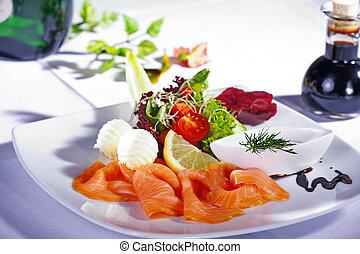 restaurant, saumon, plat