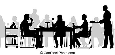 Restaurant scene - Editable vector silhouette of people...