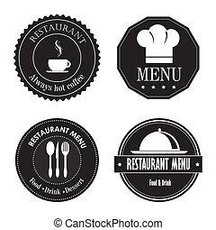 restaurant seals over white background vector illustration