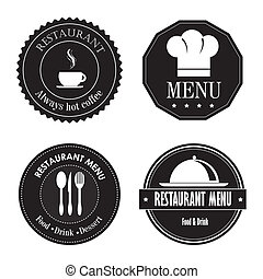 restaurant seals over white background vector illustration