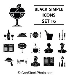 Restaurant set icons in black style. Big collection of...