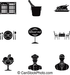 Restaurant set icons in black style. Big collection of restaurant vector symbol stock illustration