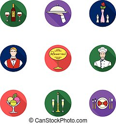 Restaurant set icons in flat style. Big collection of restaurant vector symbol stock illustration