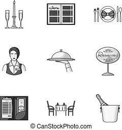 Restaurant set icons in monochrome style. Big collection of restaurant vector symbol stock illustration