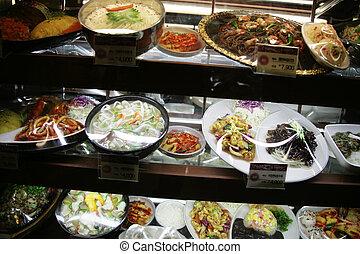 Restaurant shelves in South Korea