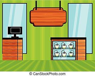 restaurant shop scene isolated icon