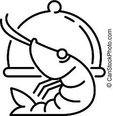 Restaurant shrimp icon, outline style