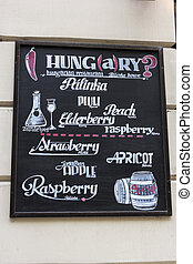 Restaurant sign in Budapest, Hungary