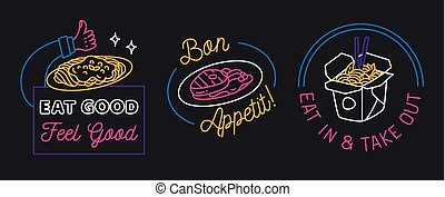 Restaurant sign in line style vector