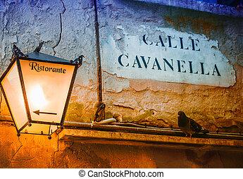 Restaurant sign in Venice, Italy. Vintage scene
