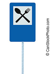 Restaurant sign on post pole, traffic road roadsign, blue isolated dinner bar catering fork spoon signage and blank empty copyspace