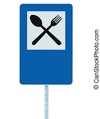 Restaurant sign on post pole, traffic road roadsign blue