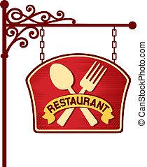 restaurant sign, restaurant symbol, restaurant plate...