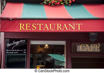 Restaurant - Signboard by entrance in restaurant. Paris....