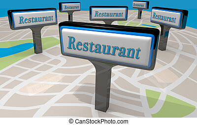 Restaurant Signs Map Locations Eat Dining Out Choices 3d...