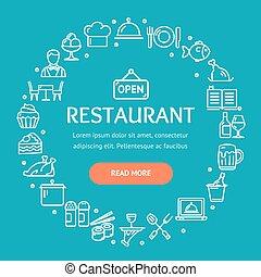 Restaurant Signs Round Design Template Thin Line Icon...
