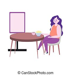 restaurant social distancing, woman eating noodles in bowl keep a safe distance, prevention covid 19 coronavirus