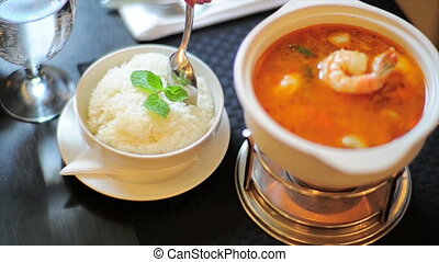 Restaurant Soup With Prawns HD
