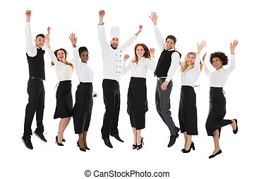 Restaurant Staff Celebrating Their Success