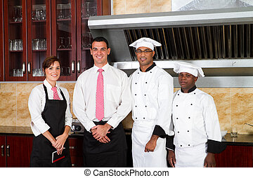 restaurant staff in kitchen