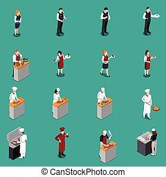 Restaurant Staff Isometric Set