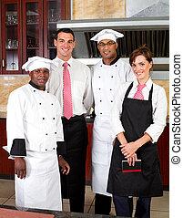 restaurant staff - group of restaurant staff inside...