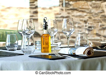 Restaurant - Table set up in a stylish French restaurant