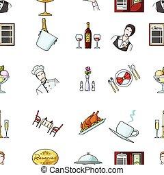restaurant, stor, symbol, iconerne, samling, style., vektor, illustration, mønster, cartoon, aktie