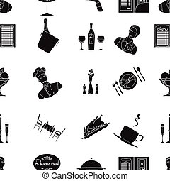 restaurant, stor, symbol, iconerne, samling, vektor, sort, illustration, mønster, style., aktie