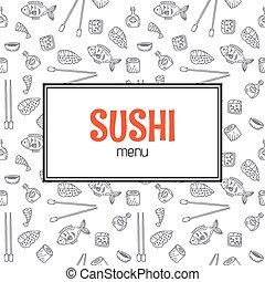 Restaurant sushi menu design. Menu template with hand drawn background