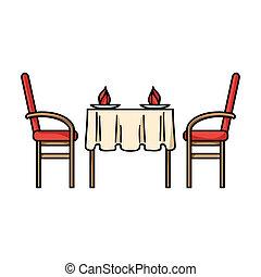 Restaurant table icon in cartoon style isolated on white background. Restaurant symbol stock bitmap, rastr illustration.