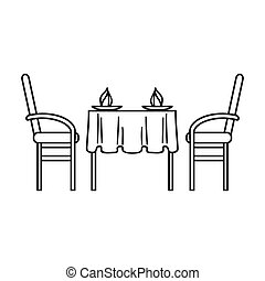 Restaurant table icon in outline style isolated on white...
