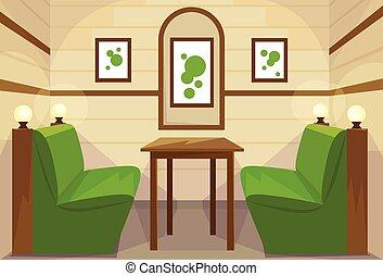 Restaurant Table Interior Room Cafe Vector Illustration