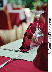 restaurant table with empty wine glass