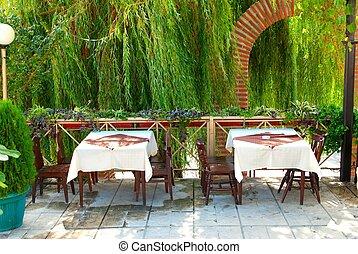 restaurant tables in garden