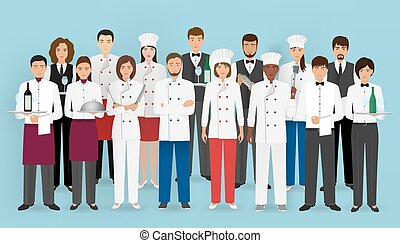 Restaurant team concept in uniform. Group of catering...