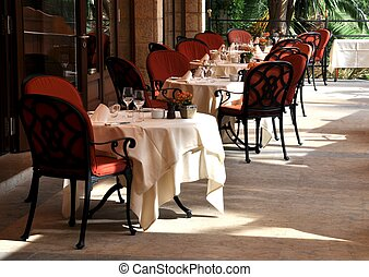 Restaurant terrace - A gourmet restaurant terrace on a sunny...