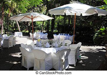 details of restaurant outdoor terrace in white tones