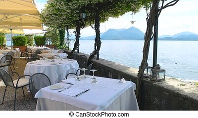 Restaurant terrace, lake Maggiore. - Restaurant terrace lake...