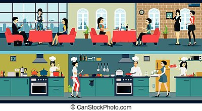 Restaurant - The restaurant has a dining room and kitchen.